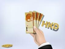 Hongkong dolara pieniądze papier na ręce, gotówka na ręce Fotografia Royalty Free
