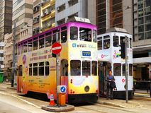 Hongkong Double-deck trolley cars Royalty Free Stock Image