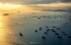 Hongkong. Harbor view from top royalty free stock image