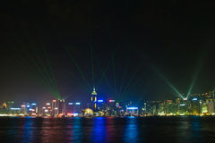 Hong Kong's famous Symphony of Lights seen from Kowloon Stock Photo