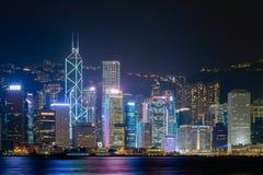 HONGKONG - Juni 14: Hong Kong stadshorisont Arkivfoton