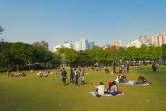 HONGKONG KINA - JANUARI 26, 2017: Folkmassan av folk som vilar på gräset, i victoria, parkerar i Hong Kong Victoria Park Royaltyfri Bild