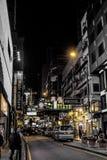 HONGKONG KINA - JANUARI, 17: Hong Kong uteliv Uteliv startar från 10 e.m., erbjuder en variation av stänger, shoppar och restaura Arkivfoton