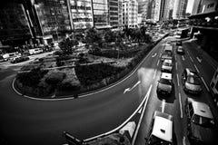 HONGKONG KINA - NOVEMBER 27, 2011: flyg- sikt på gatan i Hong Kong på november 27, 2011 royaltyfri bild