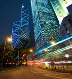 HongKong of modern landmark buildings backgrounds road light tra Stock Image