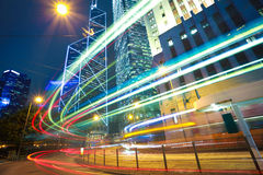 HongKong of modern landmark buildings backgrounds road light tra Stock Photography