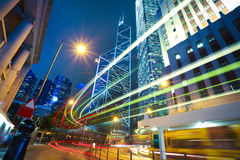 HongKong of modern landmark buildings backgrounds road light tra Stock Photo