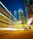 HongKong of modern landmark buildings backgrounds road light tra Royalty Free Stock Photos