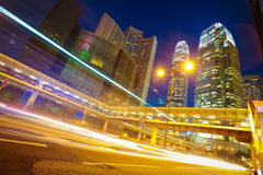 HongKong of modern landmark buildings backgrounds road light tra Stock Photos