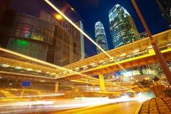 HongKong of modern landmark buildings backgrounds road light tra Royalty Free Stock Image