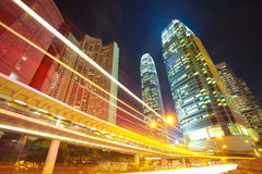 HongKong of modern landmark buildings backgrounds road light tra Royalty Free Stock Photography