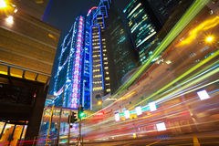 HongKong of modern landmark buildings backgrounds road light tra Royalty Free Stock Images