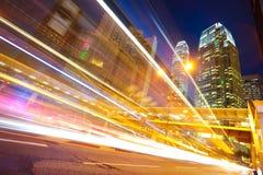 HongKong of modern landmark buildings backgrounds road light tra Stock Photo
