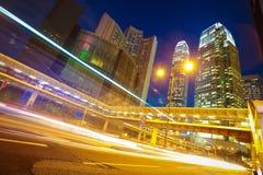 HongKong of modern landmark buildings backgrounds road light tra Stock Photos