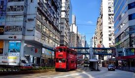 Hongkong Mongkok shopping street and traffic. A sight of Hongkong Mongkok shopping street, as buildings and bus, shown as city view and transportation, and Royalty Free Stock Photo