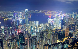 Hongkong night. And modern buildings stock images