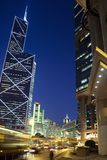 Hongkong at night. And modern architecture stock images