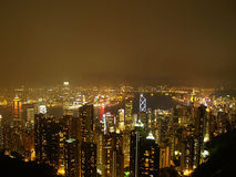 Hongkong by night. As seen from sky peak stock photos