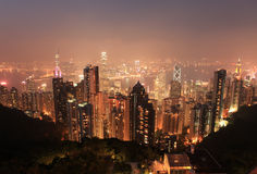 Hongkong night light Royalty Free Stock Image