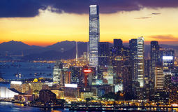 Hongkong night. Hongkong modern asia city night stock photo