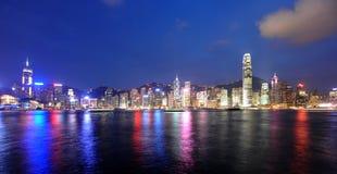 Hongkong night skyline. Hongkong island panorama seen from Kowloon peninsula Stock Photography