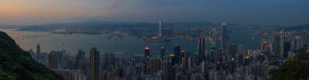 Hongkong night. Hongkong view from the peak in the evening Stock Images