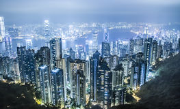 Hongkong night. View of Hongkong from Victoria Peak royalty free stock photography