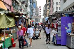 Hongkong old and small street with shoppings Stock Photos