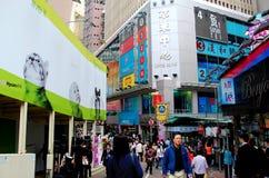 Hongkong: Opslag en Menigten bij de Baai van de Verhoogde weg Stock Foto's