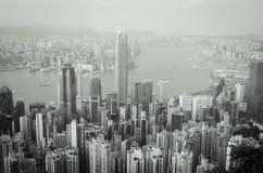 HongKong the peak. Victoria habour on black and white hongkong Stock Photo