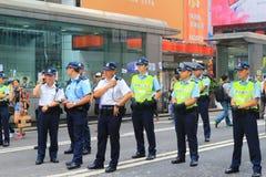 Hongkong police bewara a many protesters in Mong Kok Stock Image