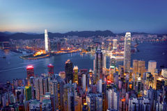 Hongkong in print style. Hongkong in print art style royalty free stock photos
