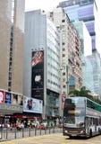 Hongkong reklamy autobus i centrum Obraz Stock