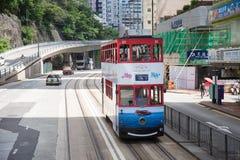 Hongkong S A r - 13 juli, 2017: Kleurrijke reclame op doubl Royalty-vrije Stock Afbeelding