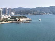 Hongkong sealand view. View from the bus onthe way from airport to kowloon Stock Image
