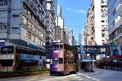 Hongkong shopping street in Mongkok. A sight of Hongkong Mongkok shopping street, as buildings and bus, shown as city view and transportation, and people Stock Photography
