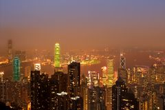 Hongkong skyline. At night with modern architecture Royalty Free Stock Photography