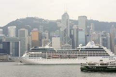 Hongkong skyline with ferryboat Stock Photo