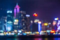 Hongkong Skyline at Night- Blurred Photo bokeh Stock Photos