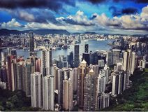Hongkong Skyline. Hongkong `s famous modern skyline. Shot from peak tram sky view. In full HD royalty free stock photo