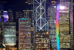 Hongkong skyscrapers at night. Hongkong island buildings in detail seen from Kowloon peninsula Royalty Free Stock Photos