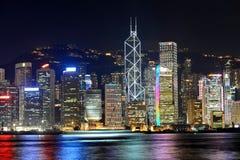 Hongkong skyscrapers at night. Hongkong island buildings seen from Kowloon peninsula Stock Photo