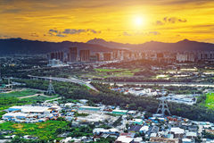 HongKong sunset , Yuen Long district Royalty Free Stock Photography
