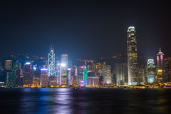Hongkong symphony of light. City night view Stock Photo