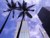 Hongkong tall modern office buildings. Looking up tall modern office buildings at hongkong street China Royalty Free Stock Photo