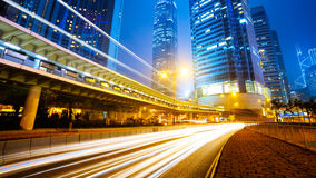 Hongkong. Traffic city night at hongkong,china royalty free stock image
