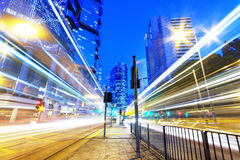 HongKong traffic light trails Royalty Free Stock Image