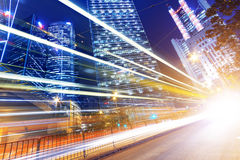 HongKong traffic light trails Stock Photography