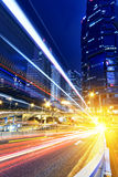 HongKong traffic light trails Stock Photos