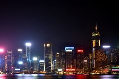 Hongkong Victoria harbor buildings in night, 2016 Royalty Free Stock Photo